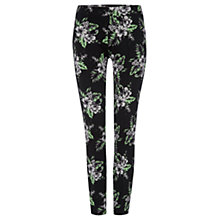 Buy Warehouse Hibiscus Print Trousers, Black Online at johnlewis.com
