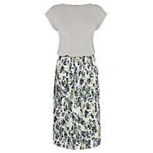 Buy Warehouse Leafy Floral Midi Dress, Grey Online at johnlewis.com