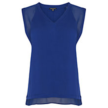 Buy Warehouse Chiffon and Crepe Mix Top, Light Blue Online at johnlewis.com