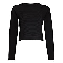 Buy Jaeger Ottoman Front Short Sweater, Black Online at johnlewis.com