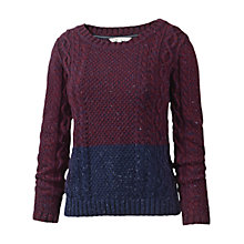 Buy Fat Face Twisted Colour Block Jumper, Burgundy/Navy Online at johnlewis.com
