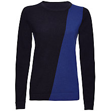 Buy Jaeger Cashmere Colour Block Sweater, Navy / True Blue Online at johnlewis.com
