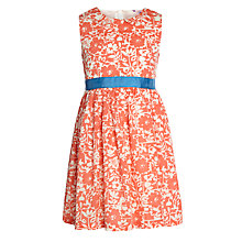 Buy John Lewis Girl Floral Sash Dress, Coral Online at johnlewis.com