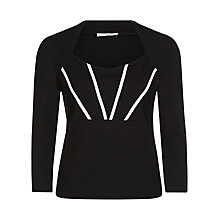 Buy Precis Petite Contrast Panel Top, Black Online at johnlewis.com