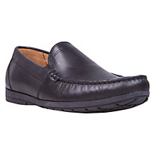 Buy Geox Simon W Leather Moccasins, Black Online at johnlewis.com