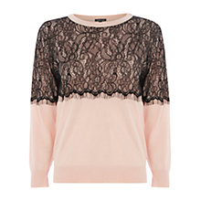 Buy Warehouse Lace Overlay Jumper Online at johnlewis.com
