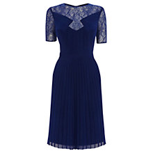 Buy Warehouse Lace Panel Skater Dress, Bright Blue Online at johnlewis.com