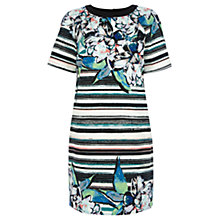 Buy Warehouse Stripe Floral T-Shirt Dress, Multi Online at johnlewis.com