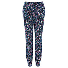 Buy Warehouse Drawn Floral Soft Peg Trousers, Multi Online at johnlewis.com