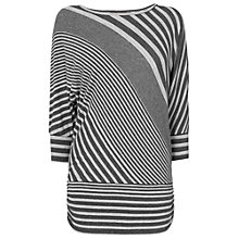 Buy Phase Eight Diagonal Stripe Dana Top, Charcoal/Grey Online at johnlewis.com