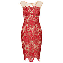 Buy Phase Eight Anais Lace Dress, Scarlet/Beige Online at johnlewis.com