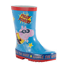 Buy John Lewis Super George Pig Wellington Boots, Blue Online at johnlewis.com