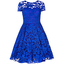 Buy Ted Baker Sheer Floral Overlay Dress, Bright Blue Online at johnlewis.com