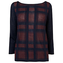 Buy Phase Eight Chloe Checked Jumper, Navy/Wine Online at johnlewis.com