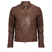 Buy Tommy Hilfiger Ed Grainy Goat Leather Jacket, Brown Online at johnlewis.com