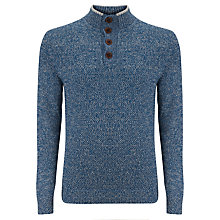 Buy Tommy Hilfiger Awol Buttoned Mockneck Jumper, Dark Denim Heather Online at johnlewis.com