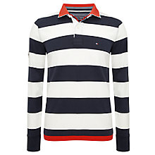 Buy Tommy Hilfiger Striped Long Sleeve Rugby Polo Shirt, Blue/White Online at johnlewis.com