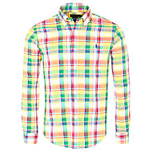 Buy Polo Ralph Lauren Slim Double Faced Check Shirt, Yellow/Green Online at johnlewis.com