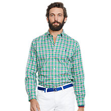 Buy Polo Ralph Lauren Slim Fit Oxford Check Shirt, Green Online at johnlewis.com