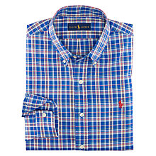 Buy Polo Ralph Lauren Slim Oxford Check Shirt, Blue/White Online at johnlewis.com