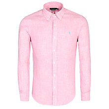 Buy Polo Ralph Lauren Custom Linen Shirt, Pink/White Online at johnlewis.com