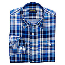 Buy Polo Ralph Lauren Slim Double Faced Check Shirt, Blue/White Online at johnlewis.com