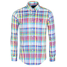 Buy Polo Ralph Lauren Slim Fit Oxford Check Shirt, Stem Green Online at johnlewis.com
