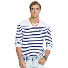 Buy Polo Ralph Lauren Stripe Crew Neck Jersey Top, White/Blue Online at johnlewis.com