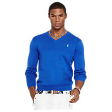 Buy Polo Ralph Lauren Pima Cotton V-Neck Sweater, Blue Saturn Online at johnlewis.com