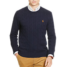Buy Polo Ralph Lauren Cable Knit Crew Neck Jumper, Hunter Navy Online at johnlewis.com