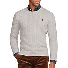 Buy Polo Ralph Lauren Cable Knit Crew Neck Jumper, Light Grey Heather Online at johnlewis.com