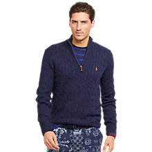 Buy Polo Ralph Lauren Cable Knit Half Zip Jumper, New Navy Online at johnlewis.com