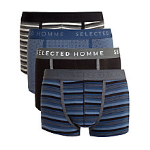 Buy Selected Homme Plain and Pattern Trunks, Pack of 4, Black/Blue Online at johnlewis.com