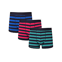 Buy John Lewis Rugby Stripe Trunks, Pack of 3, Blue/Red/Green Online at johnlewis.com