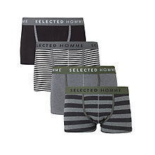 Buy Selected Homme Stretch Trunks, Pack of 4, Grey/Black Online at johnlewis.com