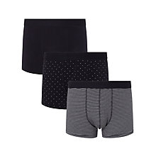 Buy John Lewis Cotton Trunks, Pack of 3, Navy Online at johnlewis.com
