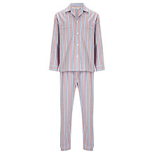 Buy Derek Rose Stripe Brushed Cotton Pyjamas, Blue/Red Online at johnlewis.com