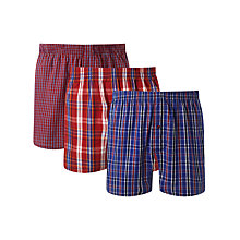 Buy John Lewis Matt Check Woven Boxers, Pack of 3, Red/Blue Online at johnlewis.com