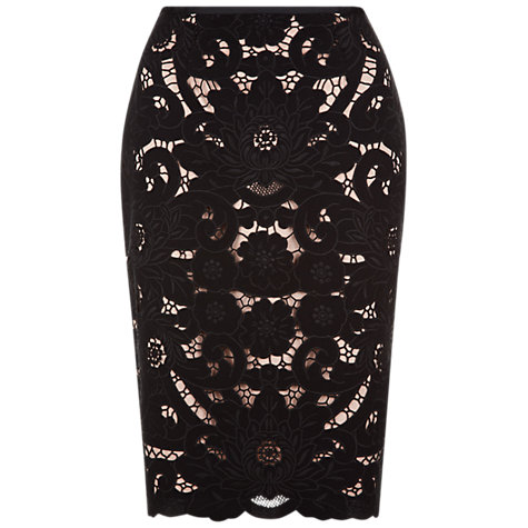 Buy Hobbs Anita Skirt, Black Online at johnlewis.com