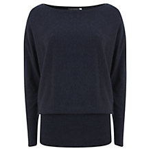 Buy Mint Velvet Zip Shoulder Batwing Knit Top, Indigo Online at johnlewis.com