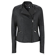 Buy Mint Velvet Leather Stitch Biker Jacket Online at johnlewis.com