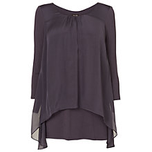 Buy Phase Eight Therese Sleeve Split Back Blouse, Charcoal Online at johnlewis.com
