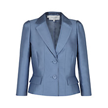 Buy Hobbs Invitation Bella Wool Silk Blend Jacket, Delphinium Blue Online at johnlewis.com
