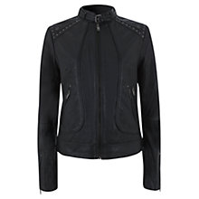 Buy Mint Velvet Studded Leather Biker Jacket, Black Online at johnlewis.com