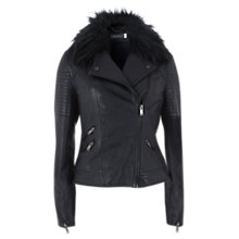 Buy Mint Velvet Leather Aviator Jacket, Navy Online at johnlewis.com