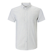 Buy John Lewis Regular Striped Short Sleeve Oxford Shirt, Yellow/Blue Online at johnlewis.com