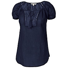 Buy Fat Face Midhurst Popover Top, Navy Online at johnlewis.com