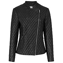 Buy Reiss Merlot Quilted Leather Jacket, Black Online at johnlewis.com