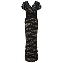 Buy Gina Bacconi Long Beaded Lace Dress, Black/Beige Online at johnlewis.com