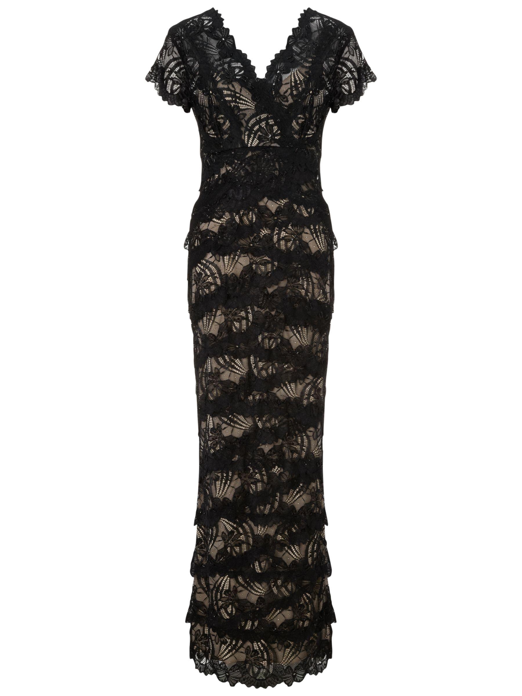 Gina Bacconi Long Beaded Lace Dress, Black/Beige